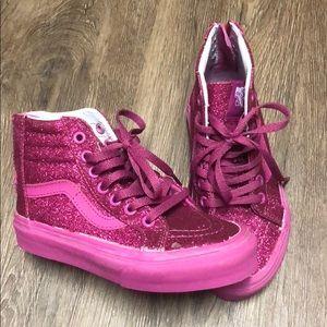Kids Hot pink glitter Vans